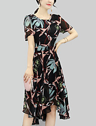 Women's Party Plus Size Holiday Going out Vintage Boho A Line Loose Dress,Print Round Neck Knee-length Short Sleeve Polyester SummerMid