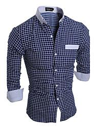 cheap -Men's Active Plus Size Cotton Slim Shirt - Striped Plaid Standing Collar