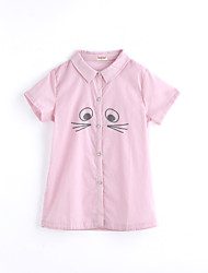 cheap -Girls' Solid Color Tee,Cotton Summer Short Sleeve Blushing Pink
