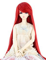 baratos -Mulher Perucas sintéticas Liso Vermelho boneca peruca Perucas para Fantasia