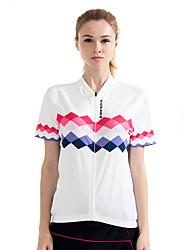 cheap -WOSAWE Women's Short Sleeves Cycling Jersey - White Bike Jersey, Quick Dry