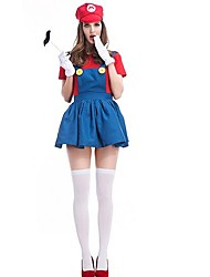 cheap -Videogame Cosplay Costume Christmas Halloween Carnival Oktoberfest New Year Festival / Holiday Halloween Costumes Red Green Solid Color