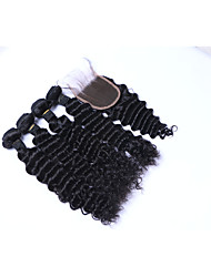 cheap -100% Unprocessed Medium Size 4Pcs 400g Brazilian Deep Wave Remy Human Hair Wefts with 1Pcs 4x4 Lace Top Closures Natural Black Human Hair Extensions