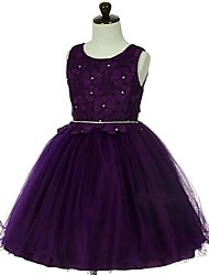 Ball Gown Short / Mini Flower Girl Dress - Organza Sleeveless Jewel Neck with Crystal by YDN