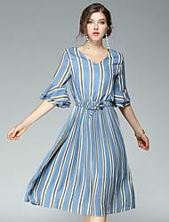 cheap -EWUS Women's Street chic Flare Sleeve Sheath Dress - Striped V Neck