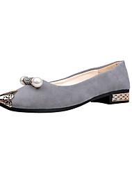 Women's Flats Comfort Formal Shoes Fall PU Walking Shoes Casual Dress Rhinestone Low Heel Black Gray Green Blushing Pink Light Blue 1in-1