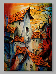 IARTS® Oil Painting Twilight Houses Abstract Art Acrylic Canvas Wall Art For Home Decoration