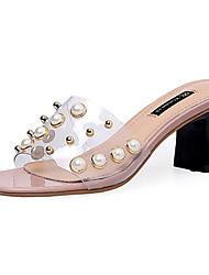 Da donna Pantofole e infradito pattino trasparente PU (Poliuretano) Estate Casual Footing pattino trasparente Perline QuadratoNero Grigio