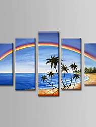 cheap -Hand-Painted  Sea Landscape Oil Painting Set of 5 With Stretcher For Home Decoration Ready to Hang