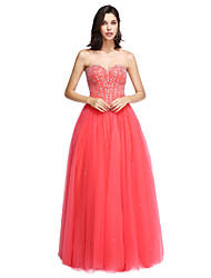 A-Line Strapless Floor Length Satin Tulle Formal Evening Dress with Beading by TS Couture®