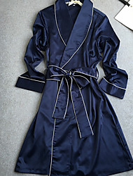 cheap -Women's Satin Robes Nightwear Solid Colored