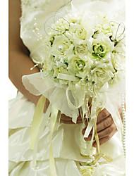economico -Bouquet sposa Bouquet Matrimonio Organza Raso 31 cm ca.