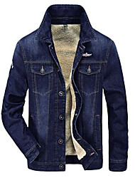 cheap -Men's Daily Simple Casual Winter Fall Denim Jacket,Solid Peaked Lapel Long Sleeve Regular Cotton Polyester