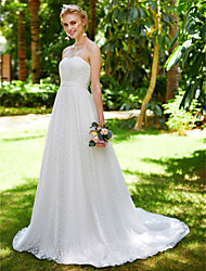 A-Line Sweetheart Court Train Lace Tulle Wedding Dress with Lace Sash / Ribbon Draped by LAN TING BRIDE®