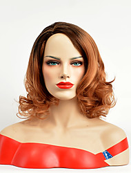 Afro Wig with Dark Root Brown Color Curly Wave Sexy Party Hair Heat Resistant Synthetic Wigs