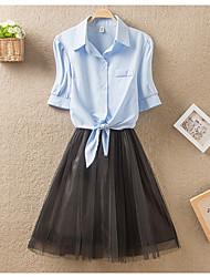 cheap -Women's A Line Dress - Solid Colored Shirt Collar