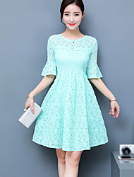 Women's Casual/Daily Sheath Dress,Solid Round Neck Knee-length Short Sleeve Cotton Summer High Rise Micro-elastic Thin