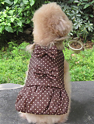 cheap -Dog Coat Dog Clothes Keep Warm Polka Dots Black Coffee Green Costume For Pets