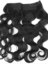 16-24inch Hidden invisible wire hair extension Body wave Human Hair 80g Natural Black