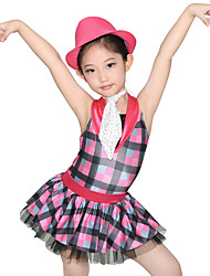 cheap -Kids' Dancewear Dresses Women's Performance Spandex Tulle Sequined Lycra Tier Paillette Ruffles Sleeveless Natural Dress Neckwear Hat