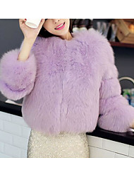 Women's Casual/Daily Simple Fall Winter Fur Coat,Solid Round Neck Long Sleeve Regular Others