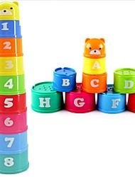 Excellent Baby Children Kids Educational Toy New building Block Figures Letters Folding Cup Pagoda Gift 9Pcs/set Ramdon Color
