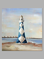 cheap -IARTS® Hand Painted Abstract Oil Painting Modern Blue & White Light House Painting with Stretched Frame For Home Decoration Ready To Hang