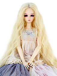 Synthetic Doll Accessories Long Kinky Curly Light Blonde Color Middle Centre Hair for 1/3 1/4 Bjd SD DZ MSD Doll Costume Wigs Not for Human Adult