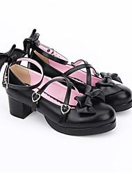 baratos -Sapatos Doce Lolita Clássica e Tradicional Confeccionada à Mão Princesa Lolita Salto Robusto Lolita Laço 4.5 CM Preto Para PU Leather