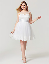 cheap -Princess Fit & Flare Illusion Neckline Knee Length Tulle Cocktail Party Homecoming Dress with Pearl Detailing Sash / Ribbon by Sarahbridal