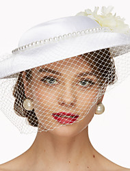 cheap -Fabric Net Fascinators Hats Headwear Birdcage Veils with Floral 1pc Wedding Special Occasion Headpiece