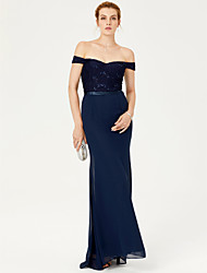 cheap -Mermaid / Trumpet Off-the-shoulder Sweep / Brush Train Chiffon Lace Formal Evening Dress with Sash / Ribbon Sequins by TS Couture®