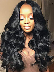 cheap -Human Hair Lace Front Wig / Glueless Lace Front Wig Wavy 130% Density Natural Hairline / African American Wig / 100% Hand Tied Women's Short / Medium Length / Long Human Hair Lace Wig
