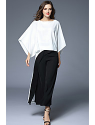 cheap -Women's Business Formal Spring Fall T-shirt Pant Suits,Solid Round Neck 3/4-Length Sleeve Cotton/nylon with a hint of stretch Inelastic