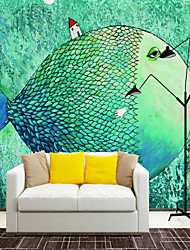 cheap -Art Deco 3D Fish Wallpaper For Home Cute Wall Covering  Canvas Material Adhesive required Mural  Room WallcoveringXXXL(416*254cm)XL(312*219cm)