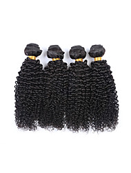 High Quality Short Size 4Pcs/Lot 400g Brazilian Kinky Curly Virgin Remy Human Hair Wefts 100% Unprocessed Natural Black Human Hair Weaves/Extensions