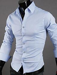 Man Almirah Necessary Article10 Colors Men's Simple Summer Shirt Solid Standing Collar Long Sleeve Slim Formal Business Dress Shirt