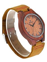 Муж. Часы Дерево Японский Кварцевый деревянный Натуральная кожа Группа Элегантные часы Коричневый
