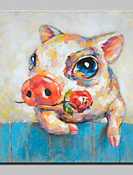 Peint à la main Animal Abstrait Dessin Animé Moderne/Contemporain Un Panneau Toile Peinture à l'huile Hang-peint For Décoration