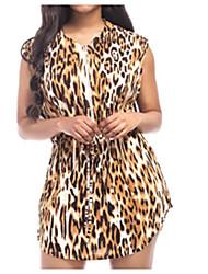Damer Sexet Simpel Fest I-byen-tøj Natklub A-linje Skede Kjole Leopardtryk,V-hals Over knæet Uden ærmer Hør Akryl Polyester Forår Sommer