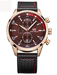 cheap -Men's Quartz Wrist Watch Military Watch Sport Watch Japanese Calendar / date / day Water Resistant / Water Proof Genuine Leather Band