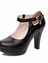 cheap -Women's Heels Formal Shoes Spring Fall Leather Casual Chunky Heel Black 5in & over