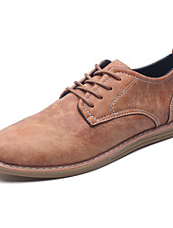 Men's Oxfords Comfort Light Soles Spring Fall PU Party & Evening Lace-up Flat Heel Black Brown Screen Color Flat