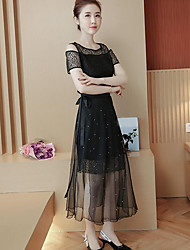 Chemisier Robes Costumes Femme,Couleur Pleine Décontracté simple Eté Manches Courtes Col Arrondi Micro-élastique