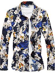 levne -Pánské - Květinový Geometrický Košile Bavlna