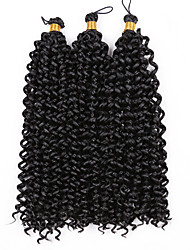"cheap -3 Pieces Water Wave Curly Hair Braids Crochet Ombre Synthetic Hair 14"" 100% Kanekalon Hair Black Black/Strawberry Blonde Black/Medium Auburn"