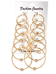 Women's Hoop Earrings Euramerican Fashion Alloy Round Jewelry For Daily 6 Pairs