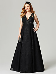 cheap -A-Line V Neck Floor Length All Over Lace Prom / Formal Evening Dress with Beading Crystal Detailing by TS Couture®