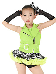 cheap -Jazz Outfits Performance Polyester Chinlon Bow(s) Animal Print Sashes / Ribbons Cascading Ruffle Ruched Ruffles Split Front Sleeveless