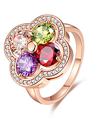 cheap -Women's Ring Multi-stone Assorted Color Rose Gold Cubic Zirconia Flower Floral Elegant Adorable Wedding Anniversary Party Evening